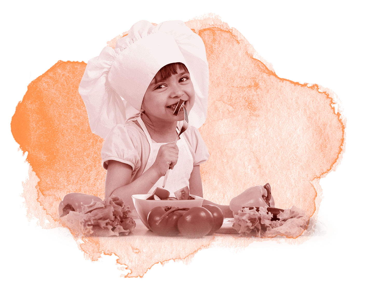 Child with chef hat and food