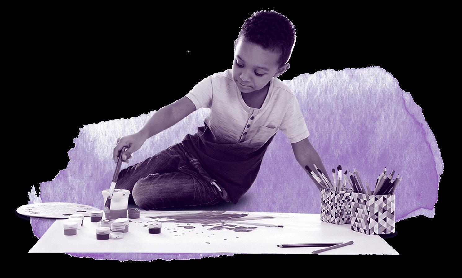 creative boy painting