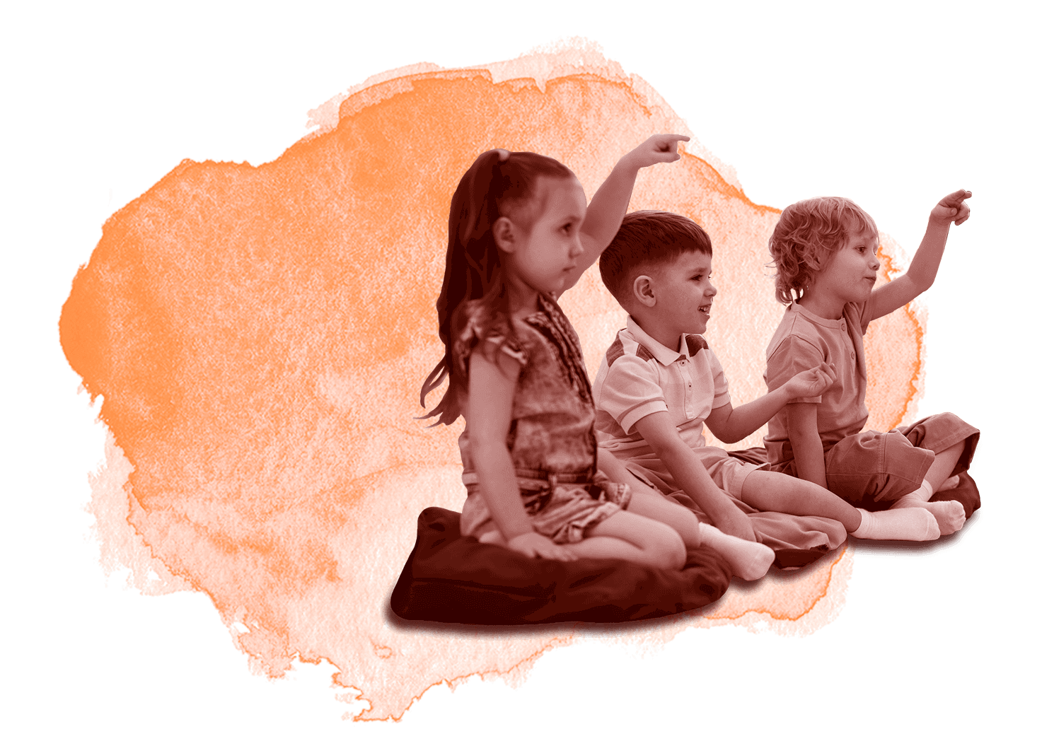 Three preschool children in class