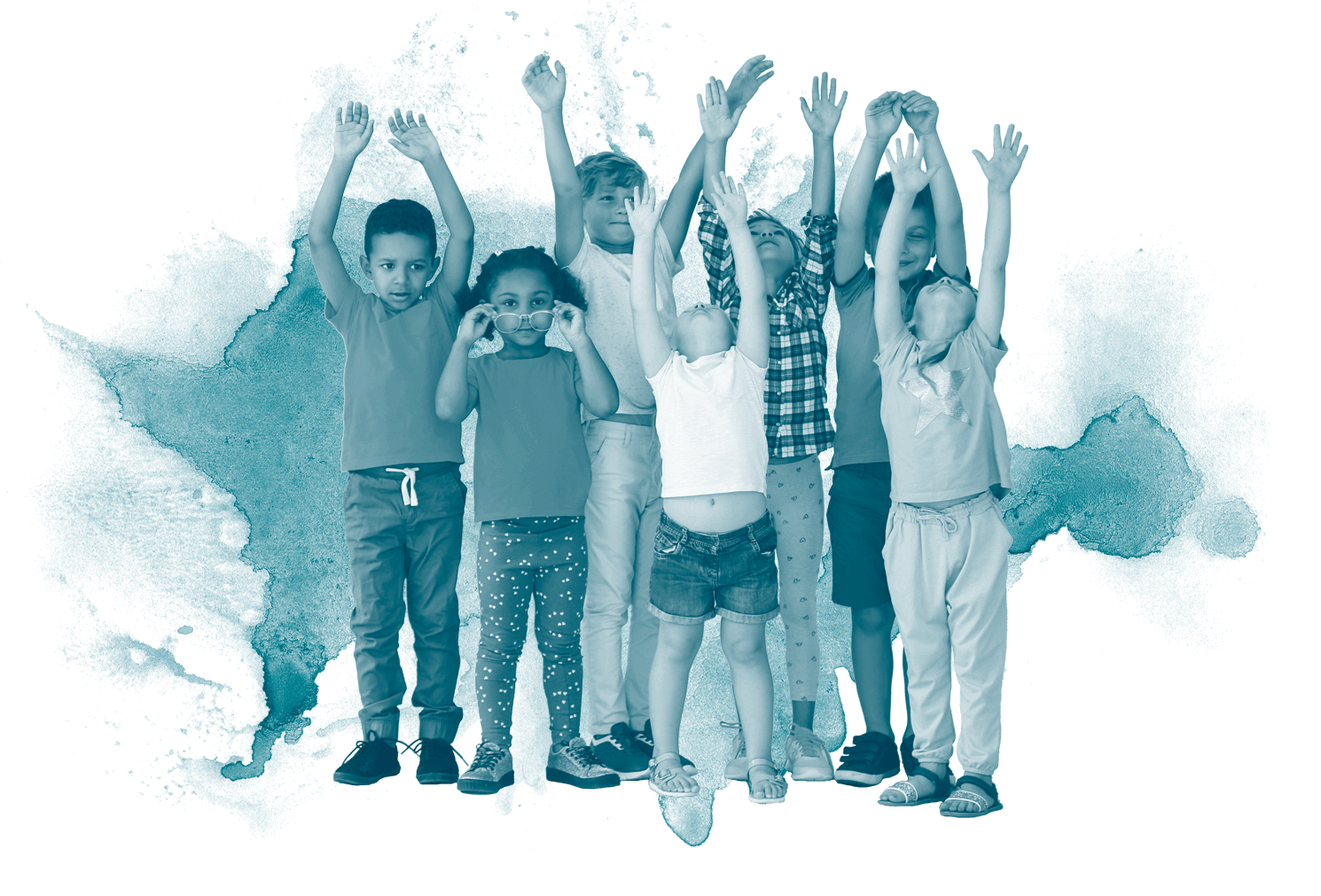 Group of children with hands in the air