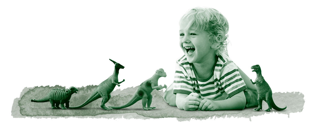 kid playing with dinosaurs