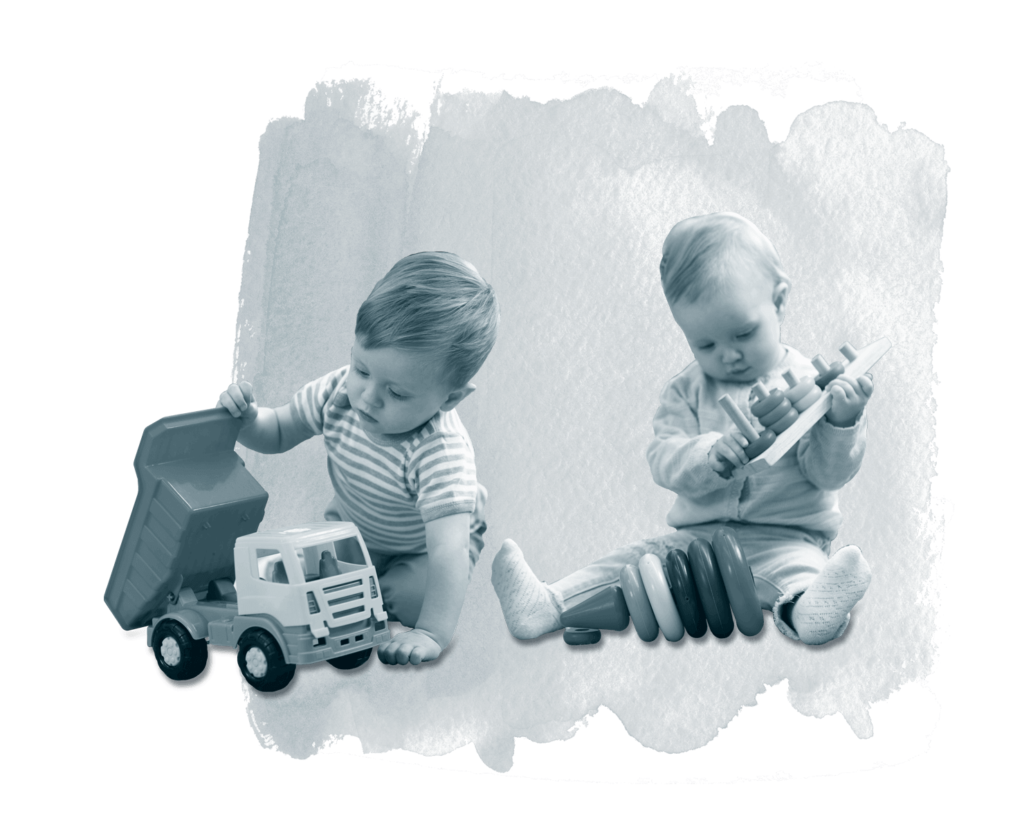 Two toddlers playing with toys