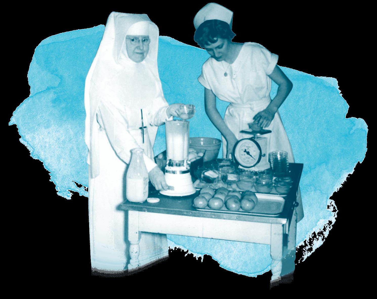 Nun and Nurse preparing food